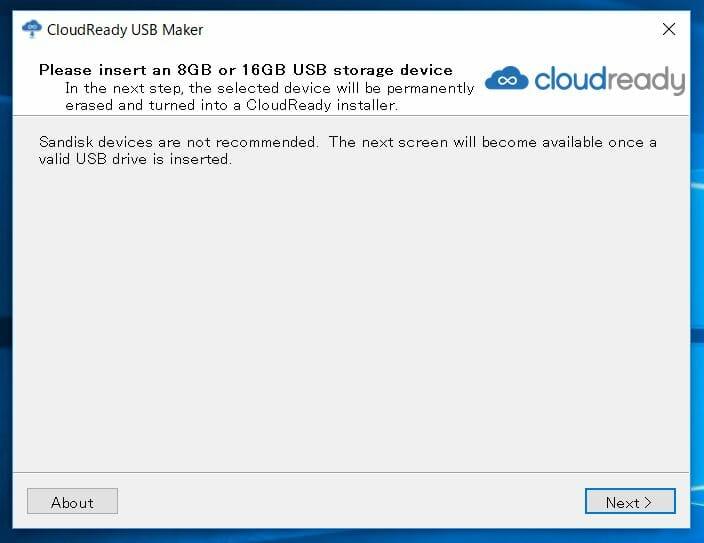 cloud ready 10 - Chrome OSをWindows10 PC上でUSBメモリーから起動してみた?!