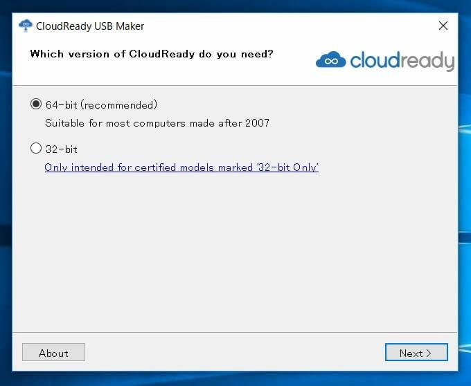 cloud ready 9 - Chrome OSをWindows10 PC上でUSBメモリーから起動してみた?!