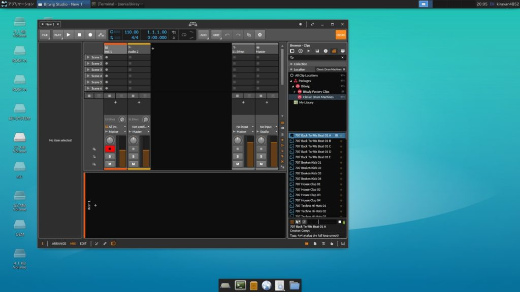 2019 09 14 20 06 02 1024x576 - ChromebookでDTM?Bitwig Studio3 Demo版をLinux Xubuntu上で試す(前編)?!