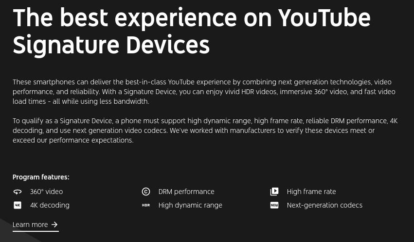 YouTube HDR モバイルデバイス